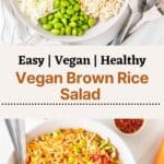 2 images of rice salad in a bowl with fork and spoon. There are some text between the images.