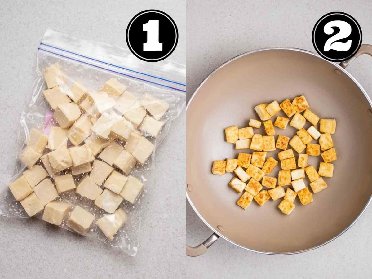 Collage showing tofu cubes in zip-top bag and pan fried tofu in a wok.