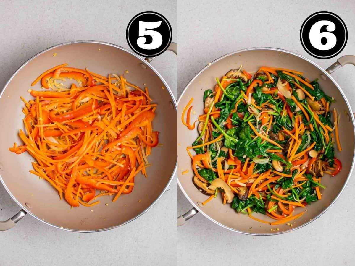 Collage showing cooking carrot and red pepper then adding in spinach and mushroom in a wok.