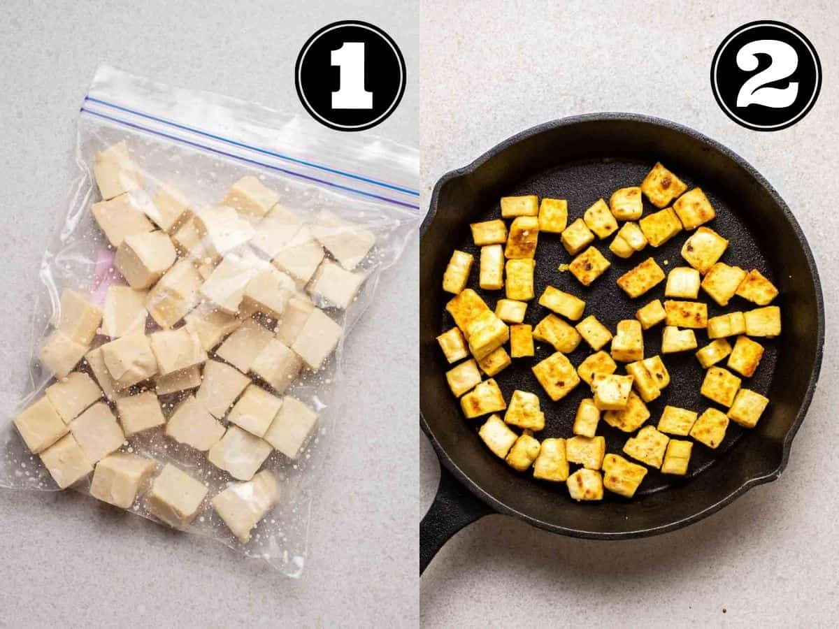 Collage showing tofu cubes in a bag and cooked tofu in a black pan.