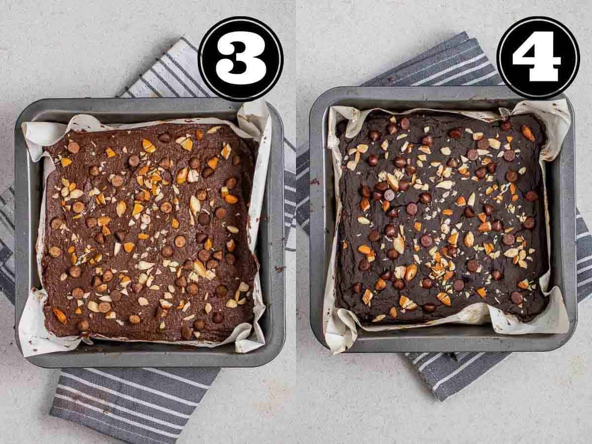 Collage showing before and after baking brownies in a lined black baking pan.