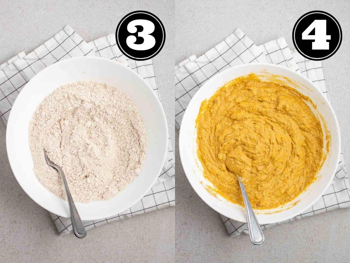 Collage showing dry ingredients, then batter of pumpkin banana bread in a bowl with fork.