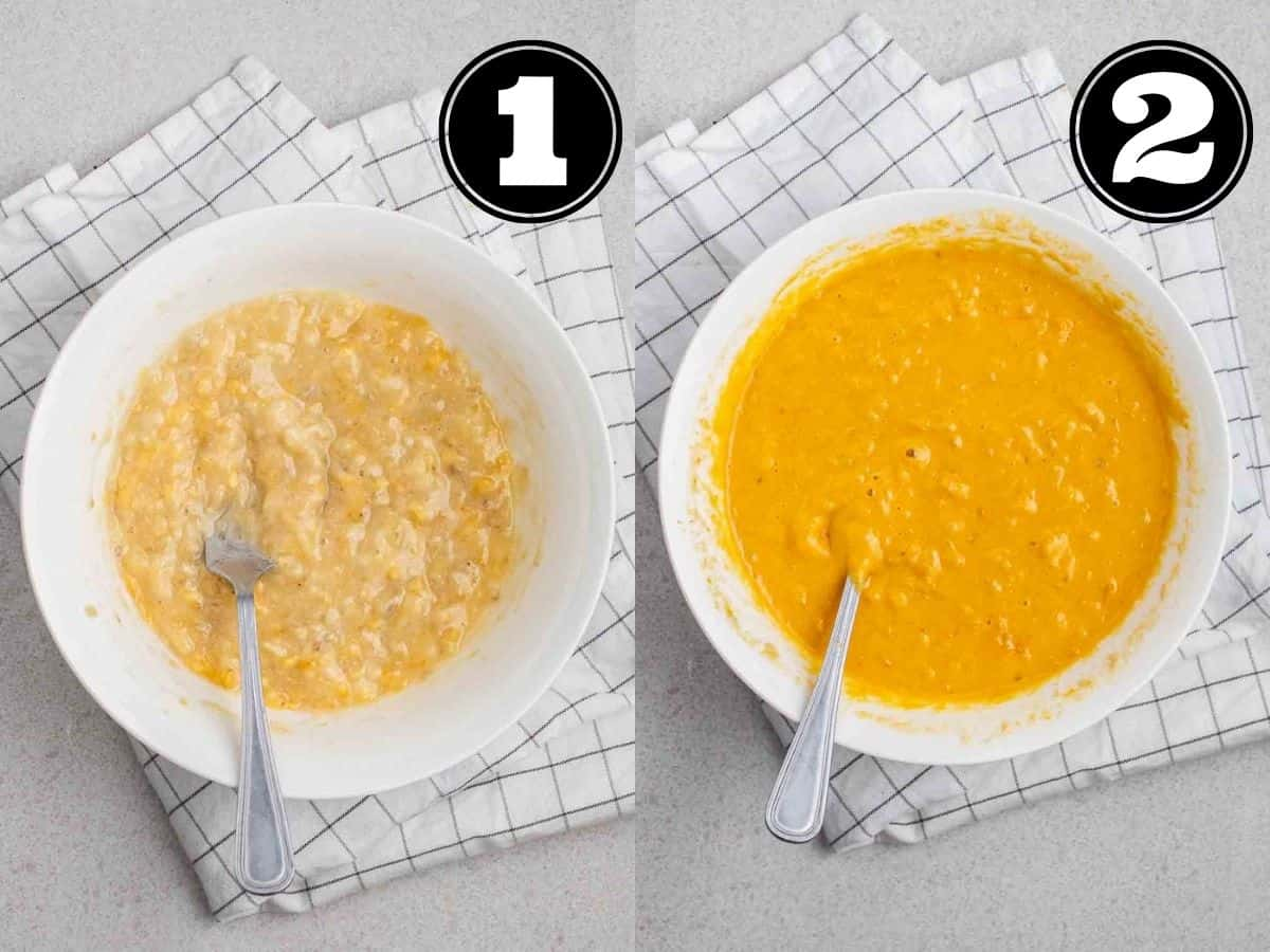 Collage showing mashed banana, then wet ingredients in a bowl with fork.