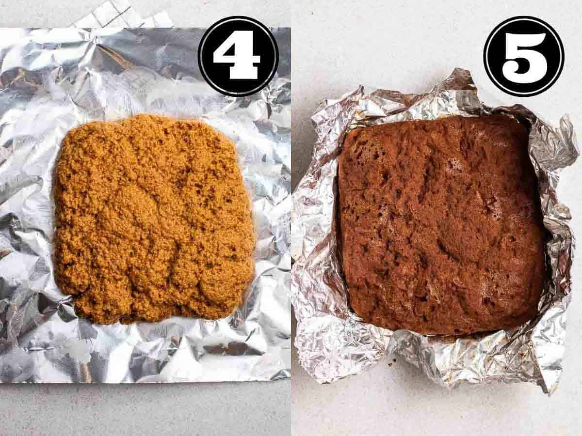 Collage showing before and after steaming seitan bacon in foil.