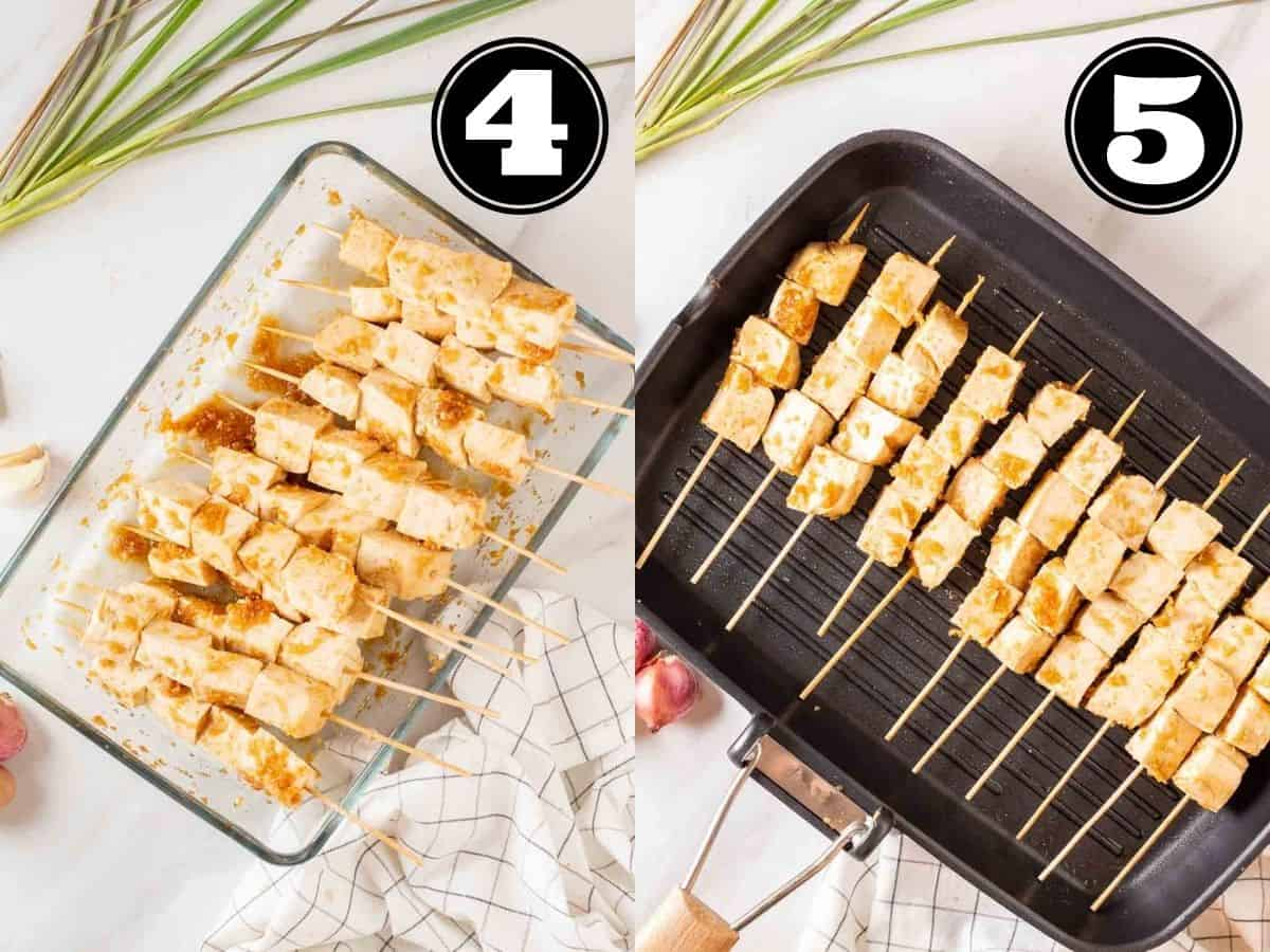 Collage showing tofu skewers in a glass dish and cooking tofu in a grill pan.