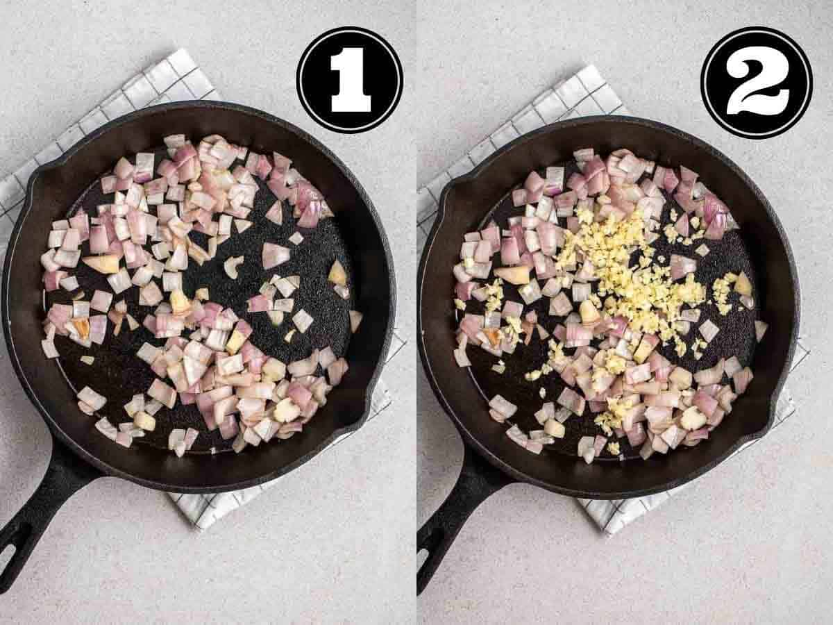 Collage showing sauteing onion then adding in garlic in a black pan.