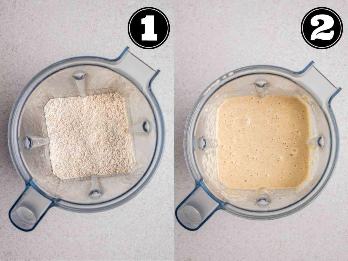 Collage showing oat flour then pancake batter in a blender.