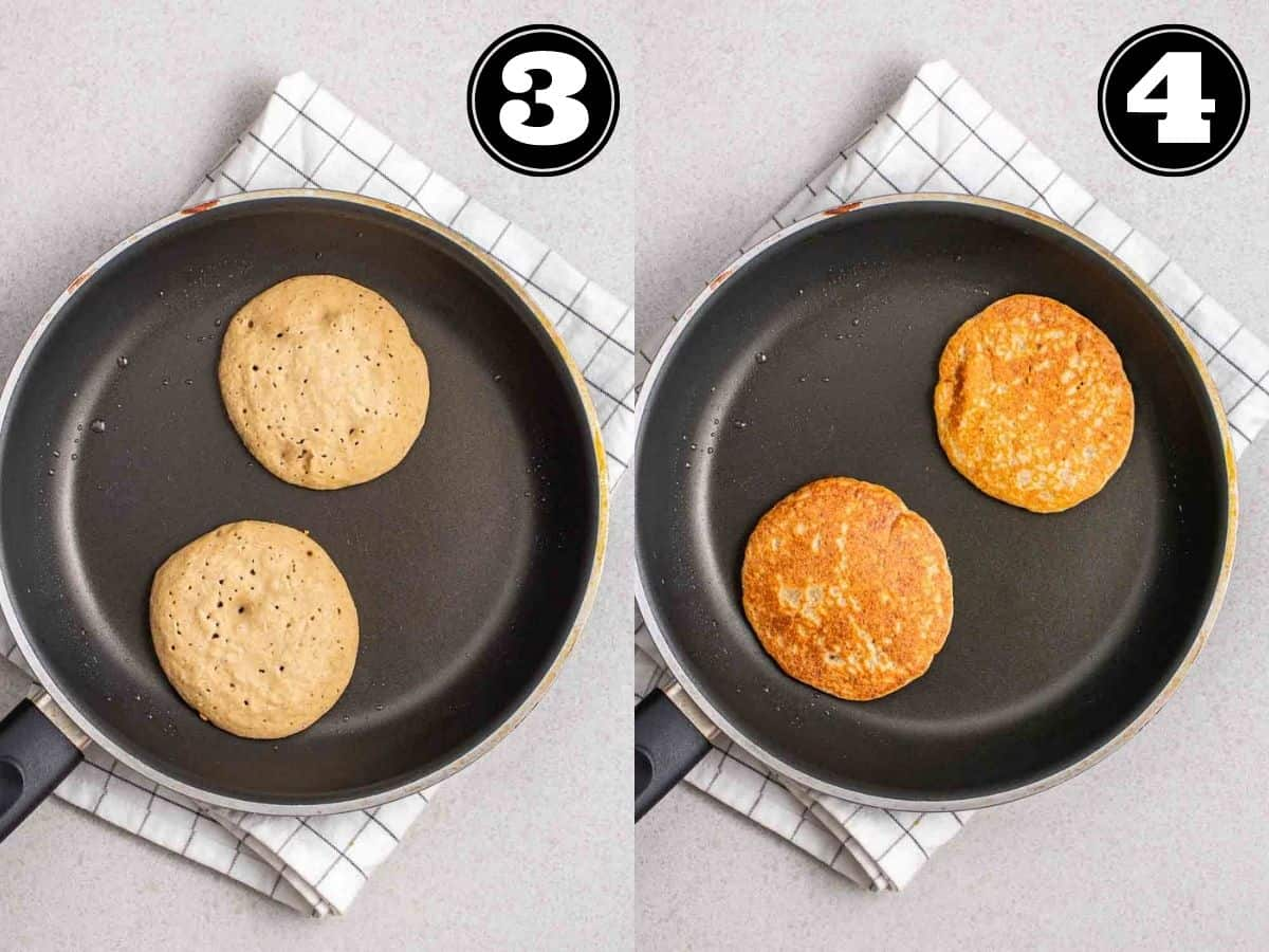 Collage showing cooked pancakes in a black pan on a white teacloth.