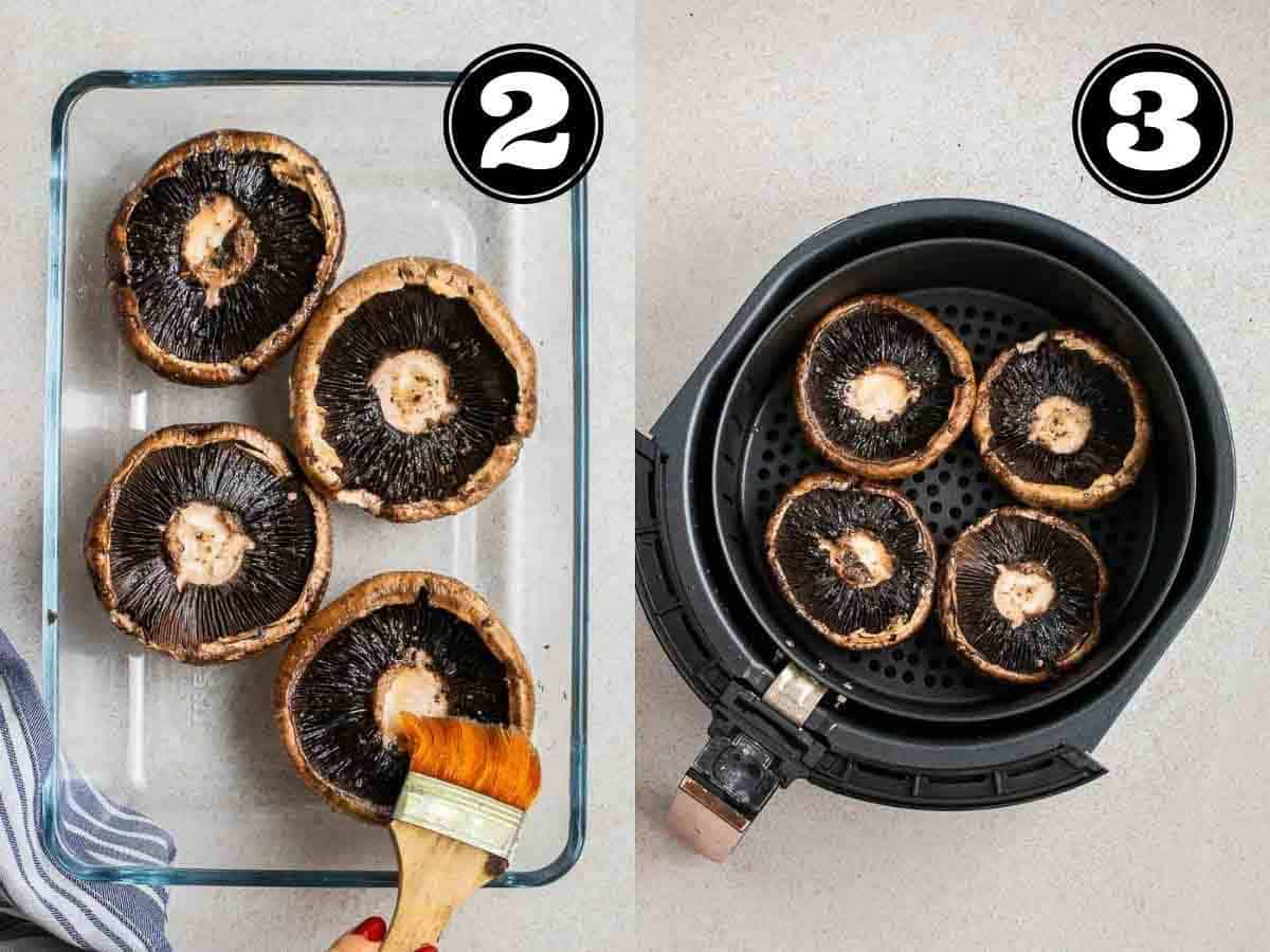 Collage showing brushing on marinade and portobello mushrooms in the air fryer tray.