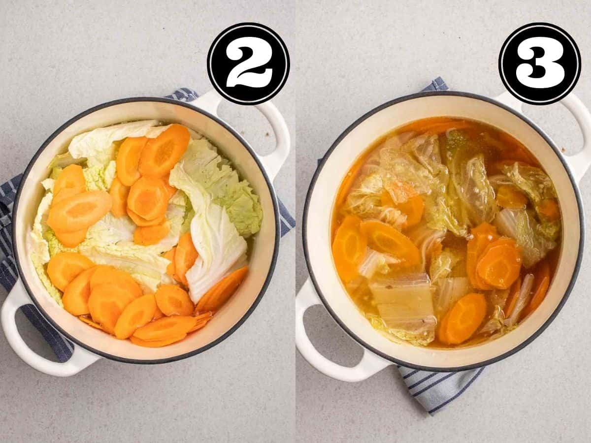 Collage showing uncooked and cooked vegetables in broth in a Dutch oven on a teacloth.