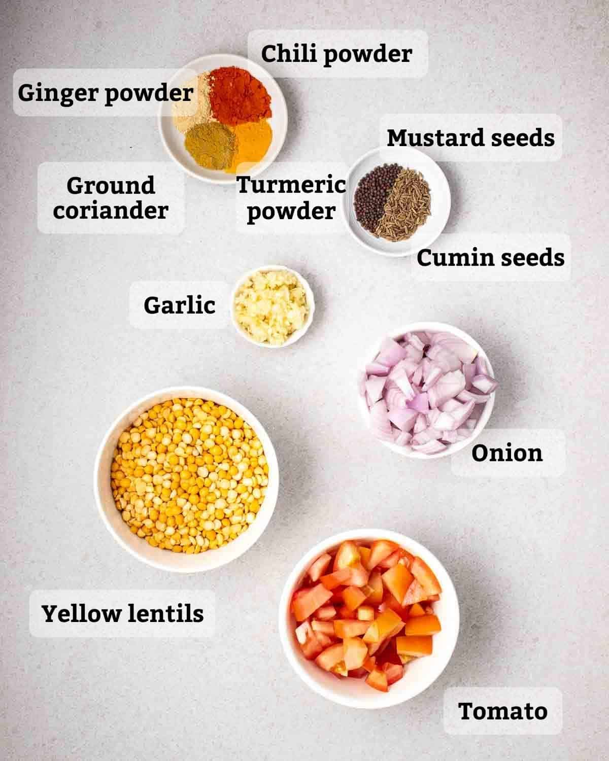 Ingredients needed like yellow lentils, tomato, onion, garlic and spices on a grey background.