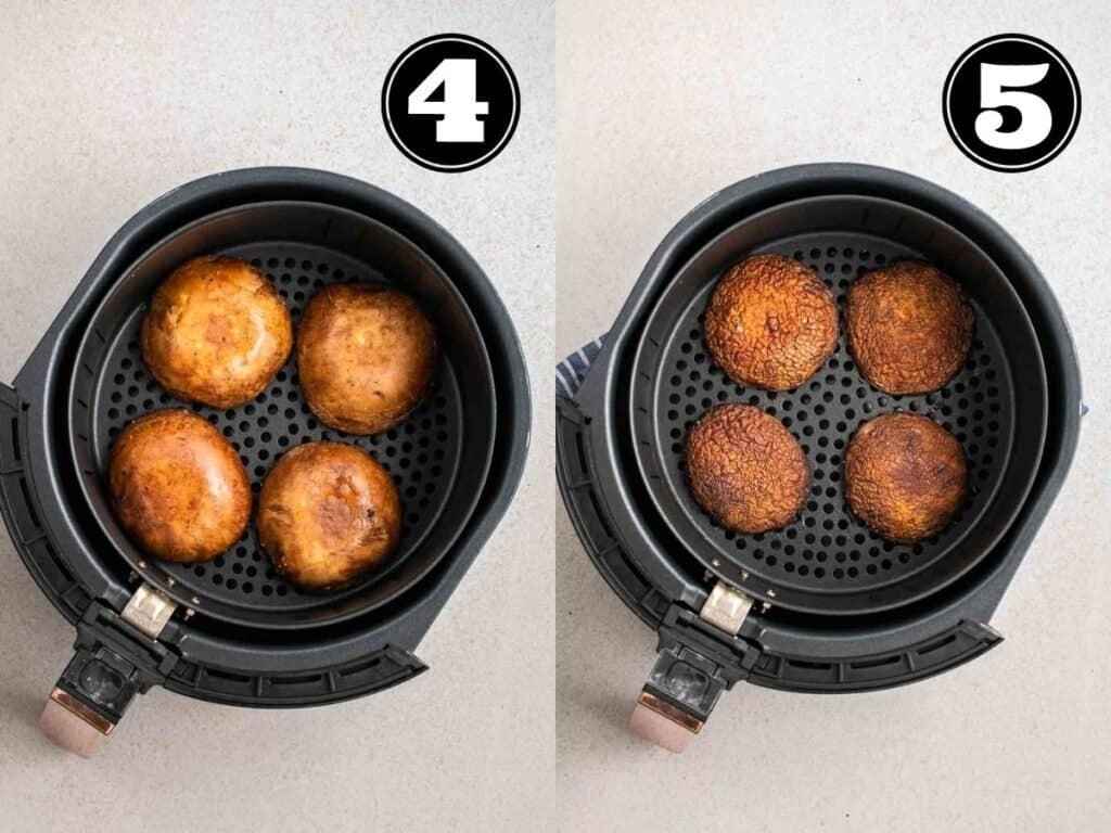 Collage showing before and after air frying mushrooms.