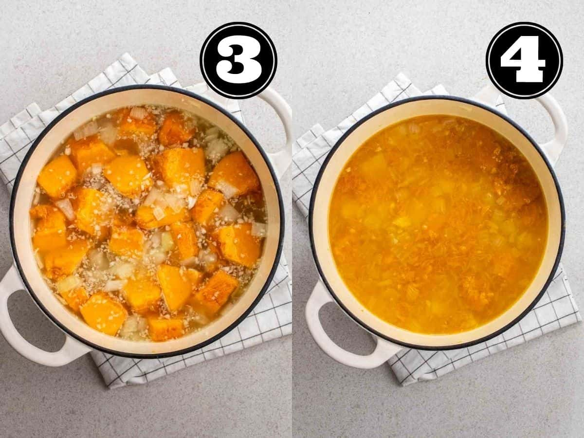 Collage showing cooking pumpkin and potato cubes.