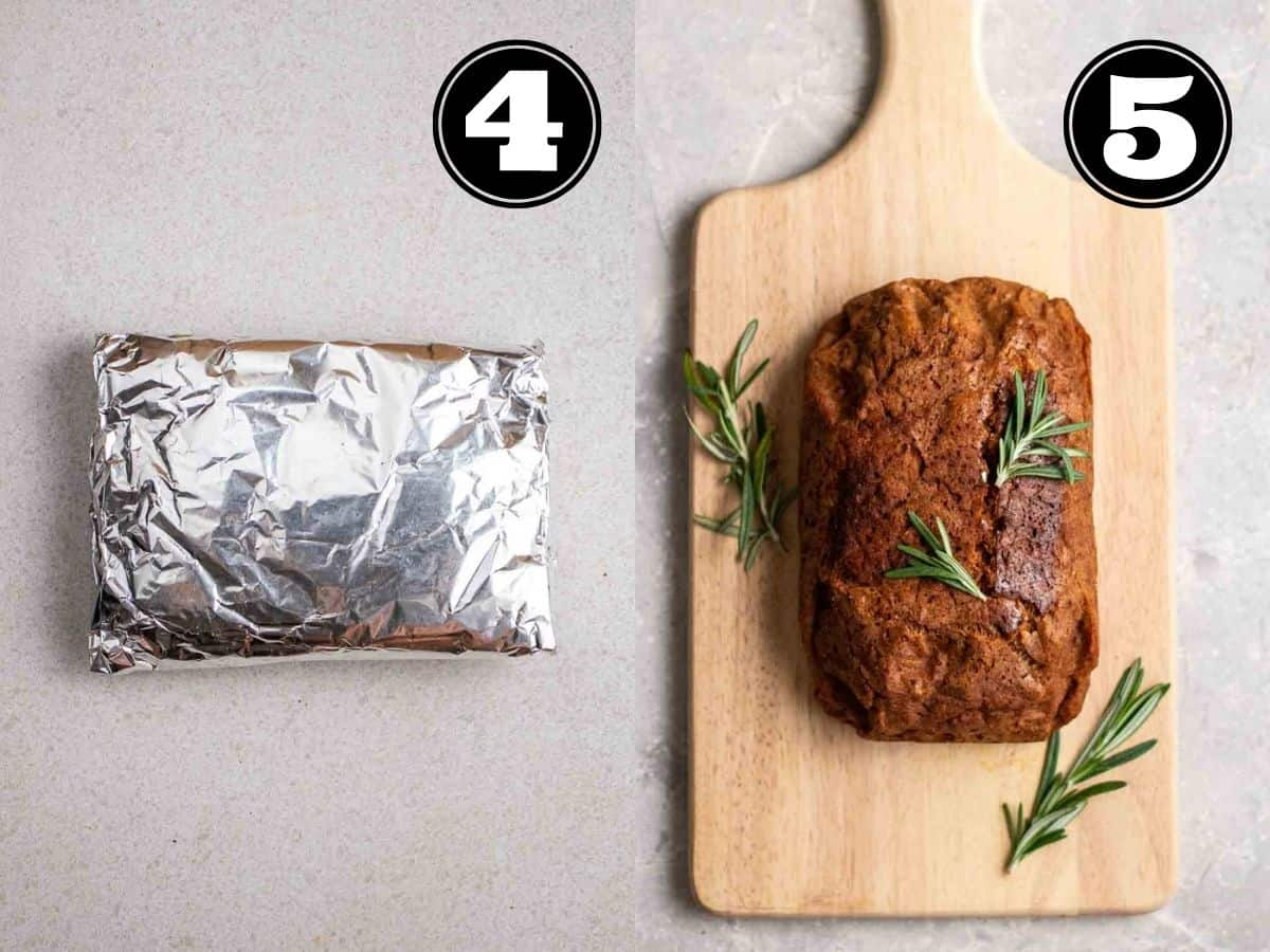 Collage showing seitan dough wrapped in foil and vegan beef on a wooden chopping board.