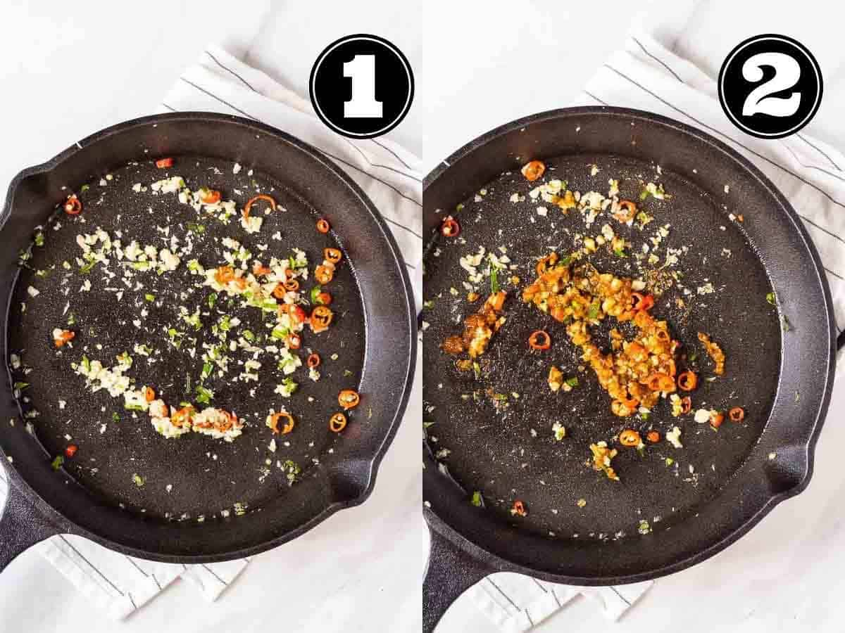 Collage showing sauteing aromatics then adding in tom yum paste in a cast iron skillet.