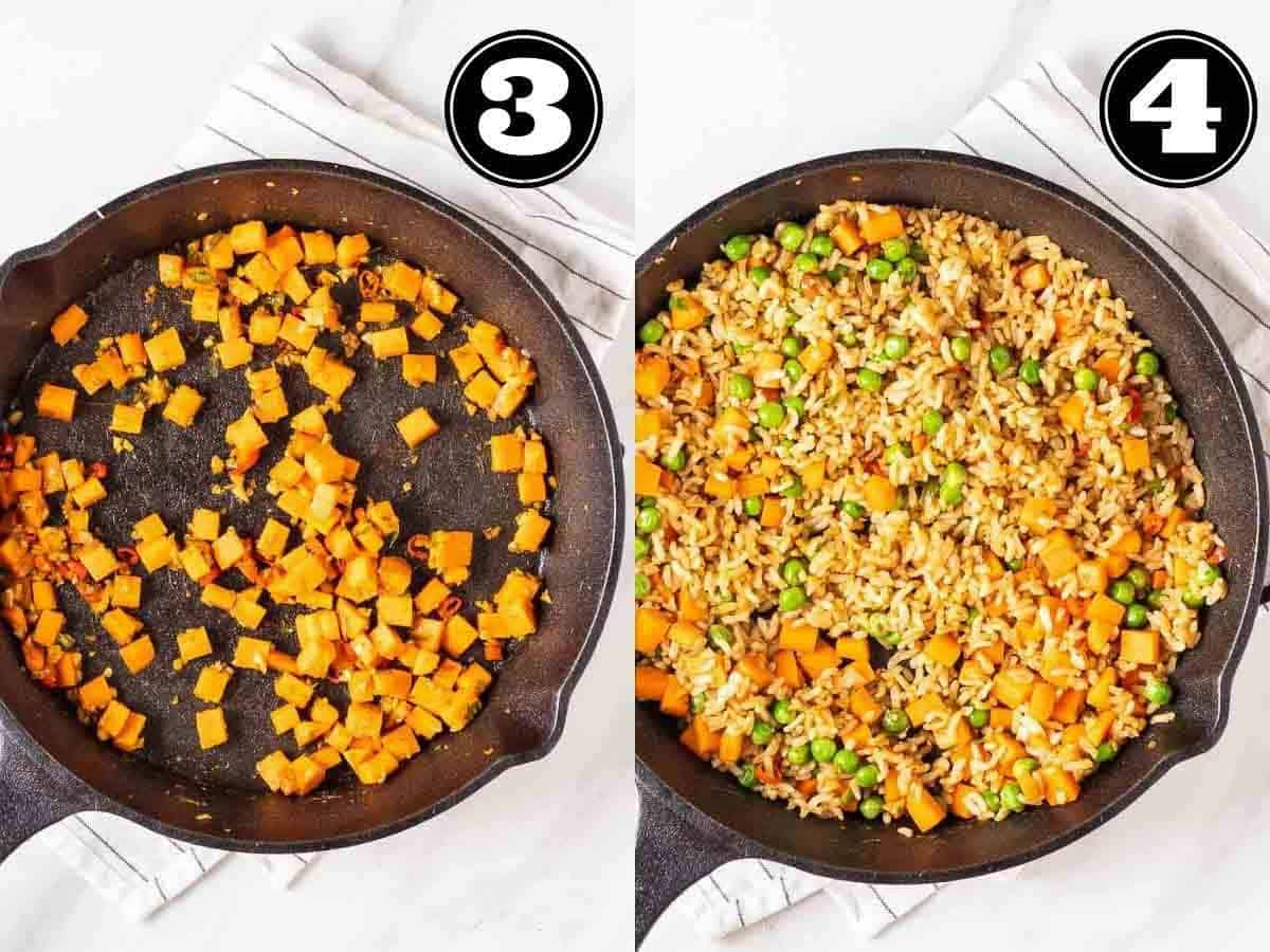 Collage showing sauteing carrot and fried rice in a cast iron pan.