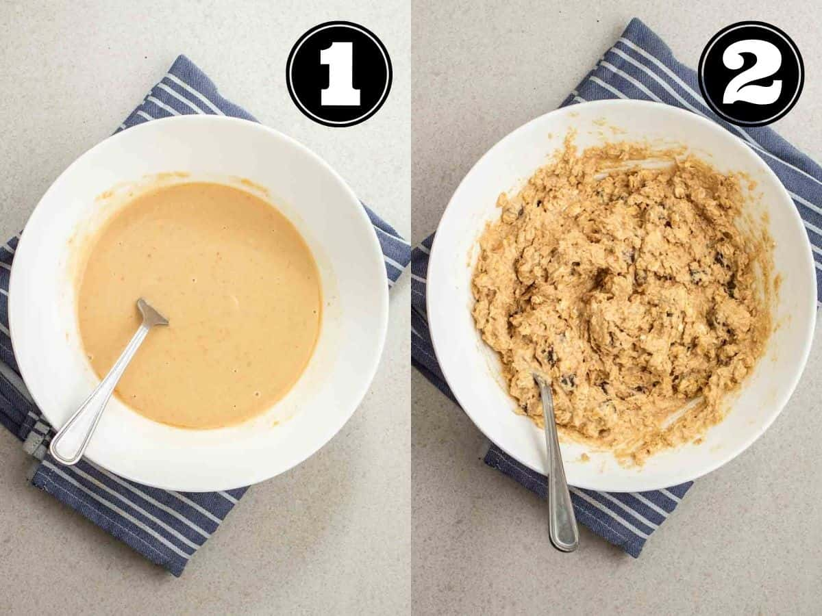 Collage showing wet ingredients then cookie dough in a white bowl with a fork.