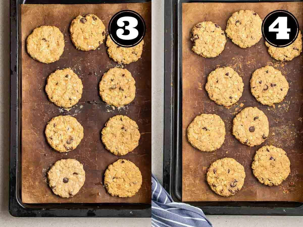 Collage showing before and after baking cookies in a baking tray lined with parchment paper.