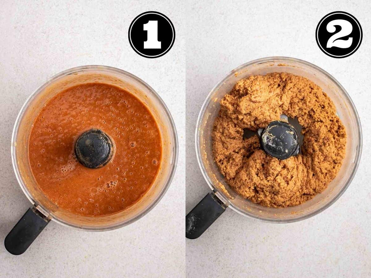 Collage showing wet ingredient then dough of seitan beef in a food processor.