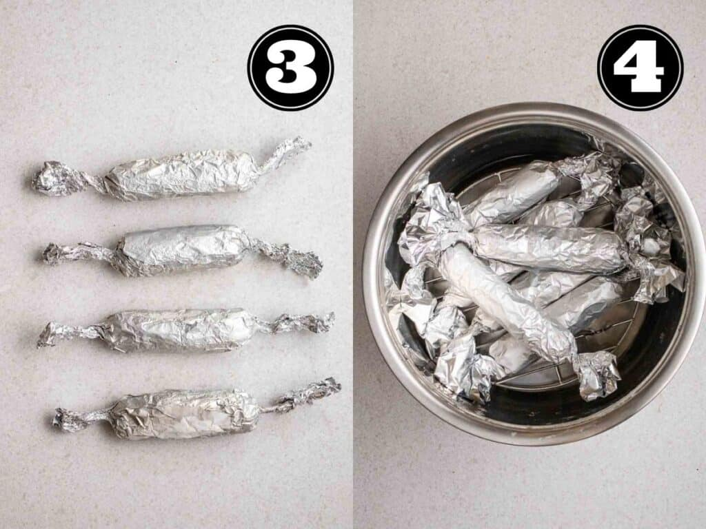 Collage showing 4 vegan sausages wrapped in foil and in a pot.